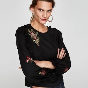 Zara Basic Embroidered Blouse With Ruffle Trim S